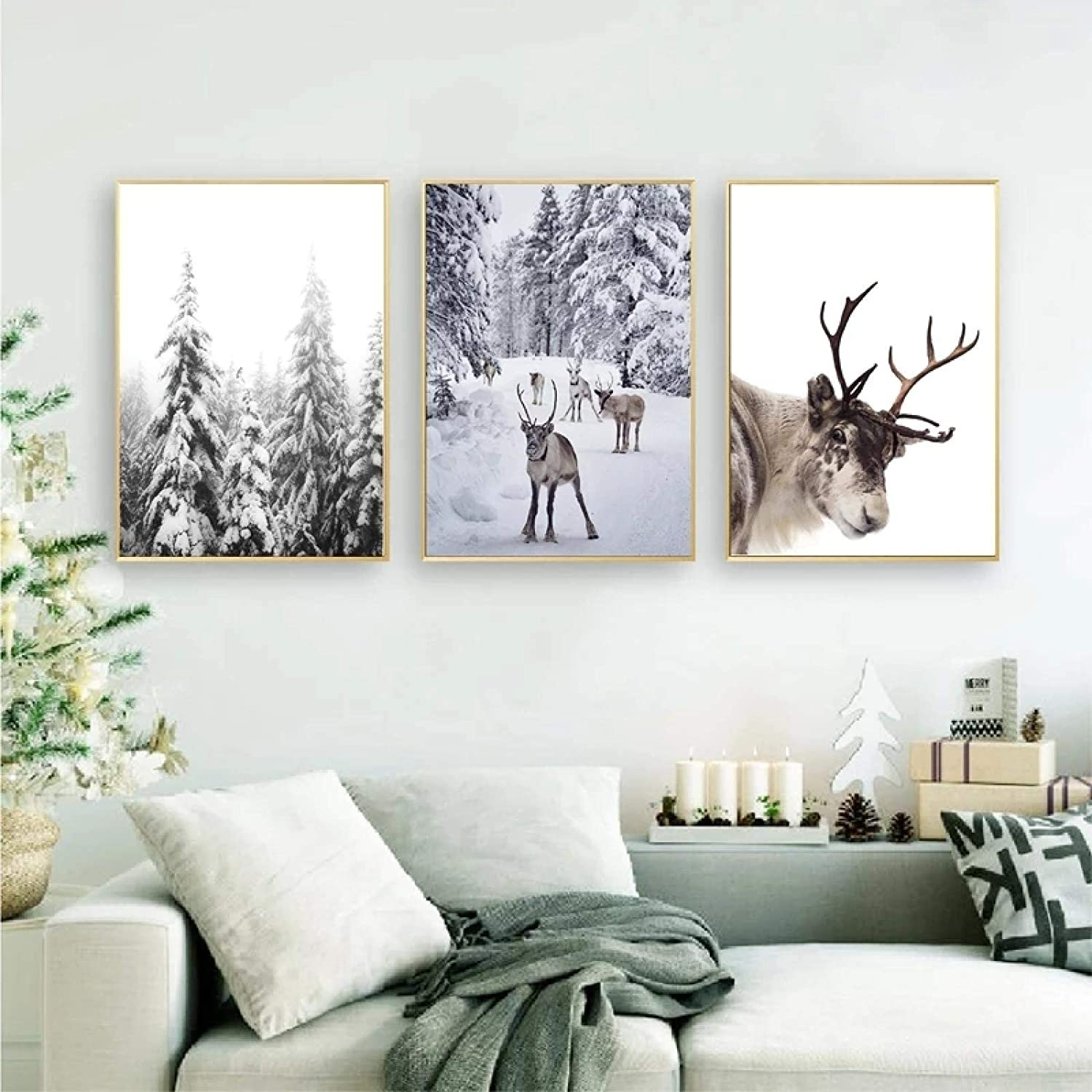 """Canvas Art Painting Snow Covered Trees Reindeer Poster Print Winter Nordic Christmas Picture Home Wall Decor Art 11.8""""x15.7""""(30x50cm) x3 with Frame"""