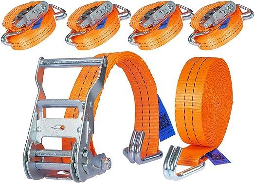 4 Stück 2000kg 6m Spanngurte Mit Ratsche 2 Teilig Zweiteilig Mit Haken Ratschengurt Zurrgurte Orange 35mm 2000 Dan 2t Industrie Planet Baumarkt