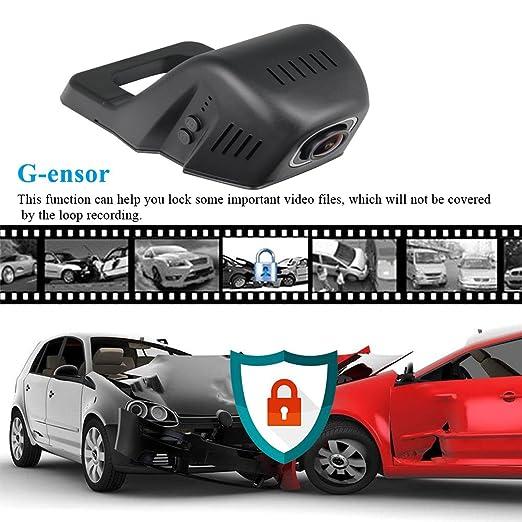 tekbow WiFi coche DVR Dash cámara oculta conducción grabadora de vídeo Full HD 1080p 170 grados gran angular, visión nocturna, G-sensor, ...