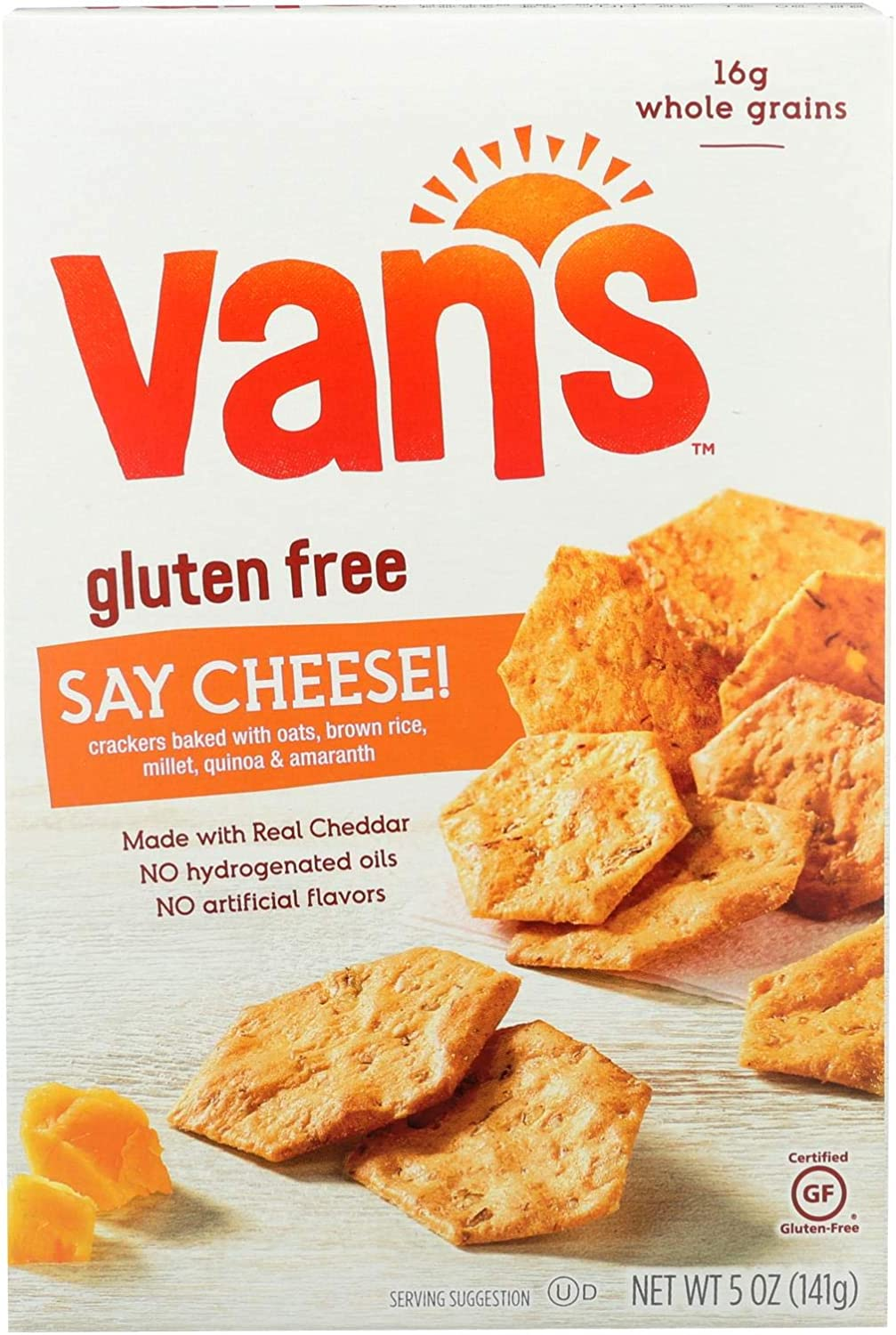 Van's Natural Foods Gluten Free Crackers - Say Cheese - Case of 6 - 5 oz.