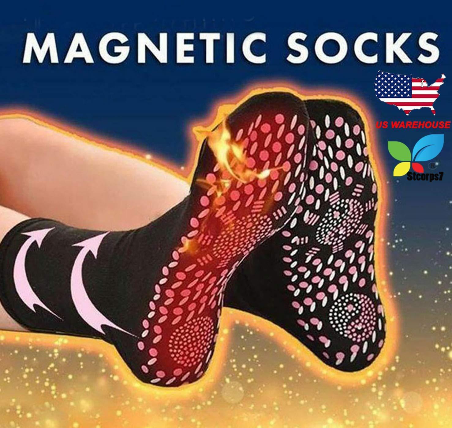 Self Heating Socks, Stcorps7 Tourmaline Self-Heating Therapy Magnetic Socks Comfortable Breathable Massage Anti-Freezing Warm Foot Socks Outdoor Skiing (Black)