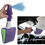 2 Pack Cleaning Cloth Pad Brush Removable Spray Handle Glass Car Windshield Windows