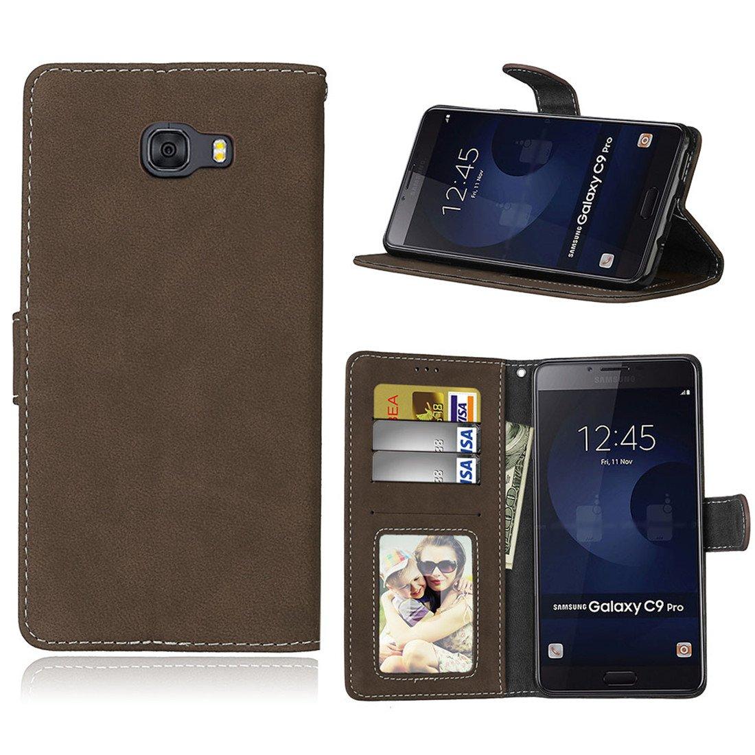 HiKing Para Samsung Galaxy C9 Pro Funda, Cuero De La PU Magnético Capirotazo Billetera Apoyo Bumper Protector Cover Funda Carcasa Case: Amazon.es: Electrónica