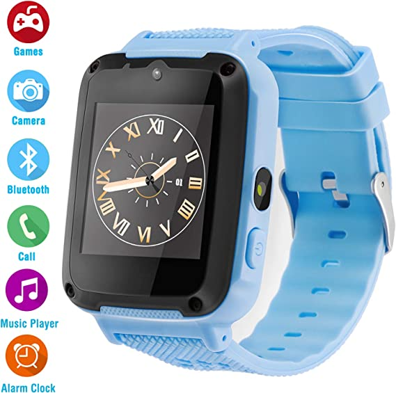 Ralehong Kids Phone Smartwatch Games 1.54 inch Touch Screen Music Player Two-Way Call Camera Bluetooth (Blue)