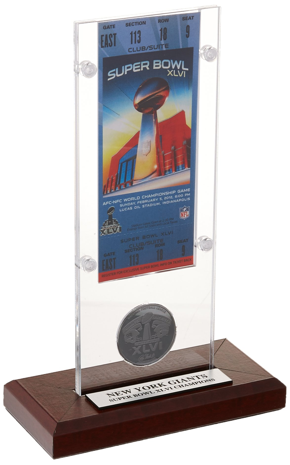 NFL New York Giants Super Bowl 46 Ticket & Game Coin Collection, 12'' x 2'' x 5'', Black