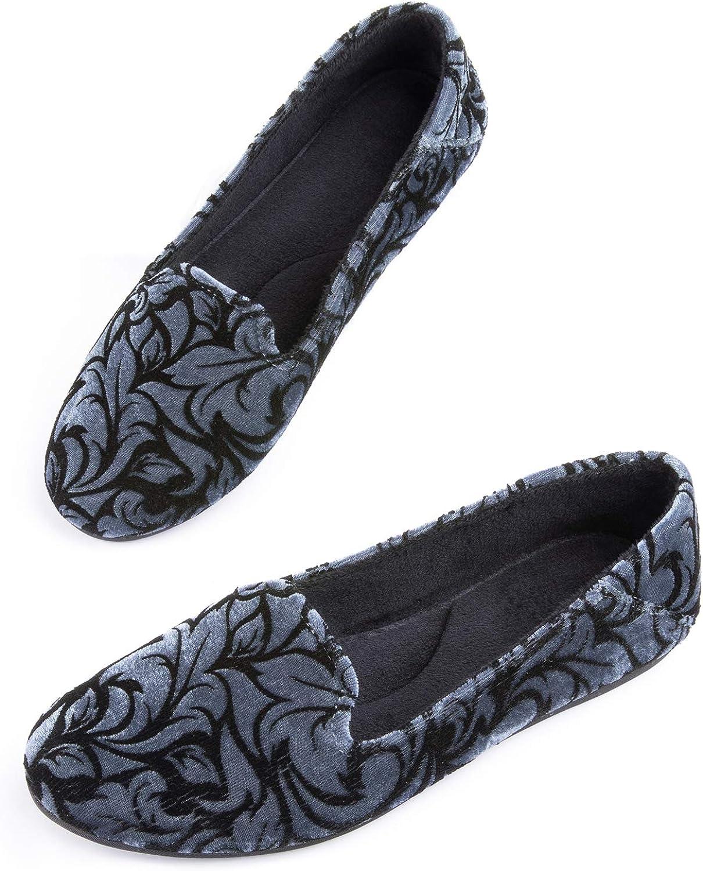 con suola in gomma per interni ed esterni ULTRAIDEAS Pantofole da donna in velluto con ricamo