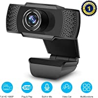 Webcam PC Full HD 1080P con Micrófono, Webcam Portátil para PC, Webcam USB 2.0, Streaming Cámara Reducción de Ruido para Videollamadas, Grabación, Conferencias con Clip Giratorio