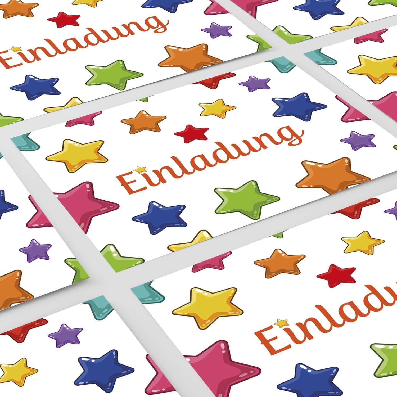 16 Einladungskarten Kindergeburtstag Geburtstagseinladung Ausfüllen Motiv Sterne