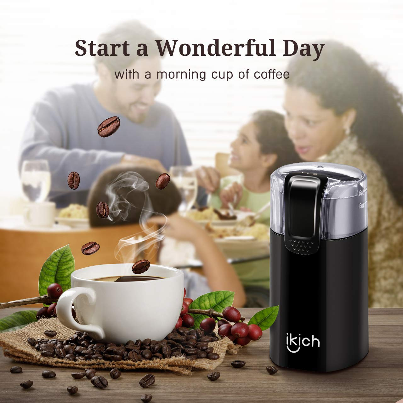 IKICH Coffee Grinder Electric, 150W Powerful Blade Coffee Bean Grinder with 12 Cups Large Grinding Capacity, Cord Storage, Portable & Compact, also for Spices, Pepper, Herbs, Nuts, Seeds, Grains by IKICH