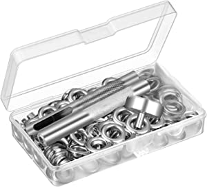 UUBAAR 100 Sets Grommet Kit, Thickened Grommets Eyelets 1/4 Inch, Silver Metal Eyelet, Grommet Tool Kit for Leather, Fabric, Tarp, Shoes, Clothing, with 3PCS Installation Tools