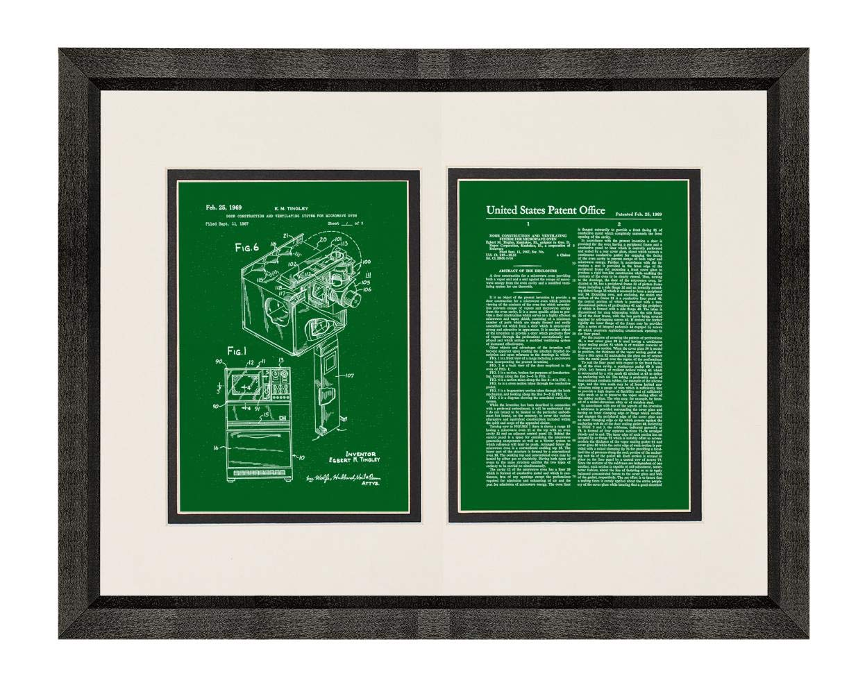 """Microwave Oven Patent Art Green Print in a Beveled Black Wood Frame with a Double Mat (20"""" x 24"""") M15869"""