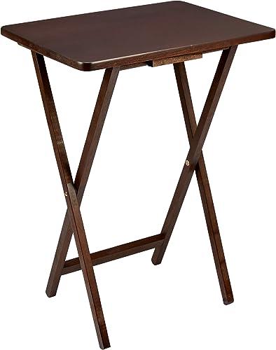 PJ Wood Single Folding TV Tray Snack Table – Dark Walnut
