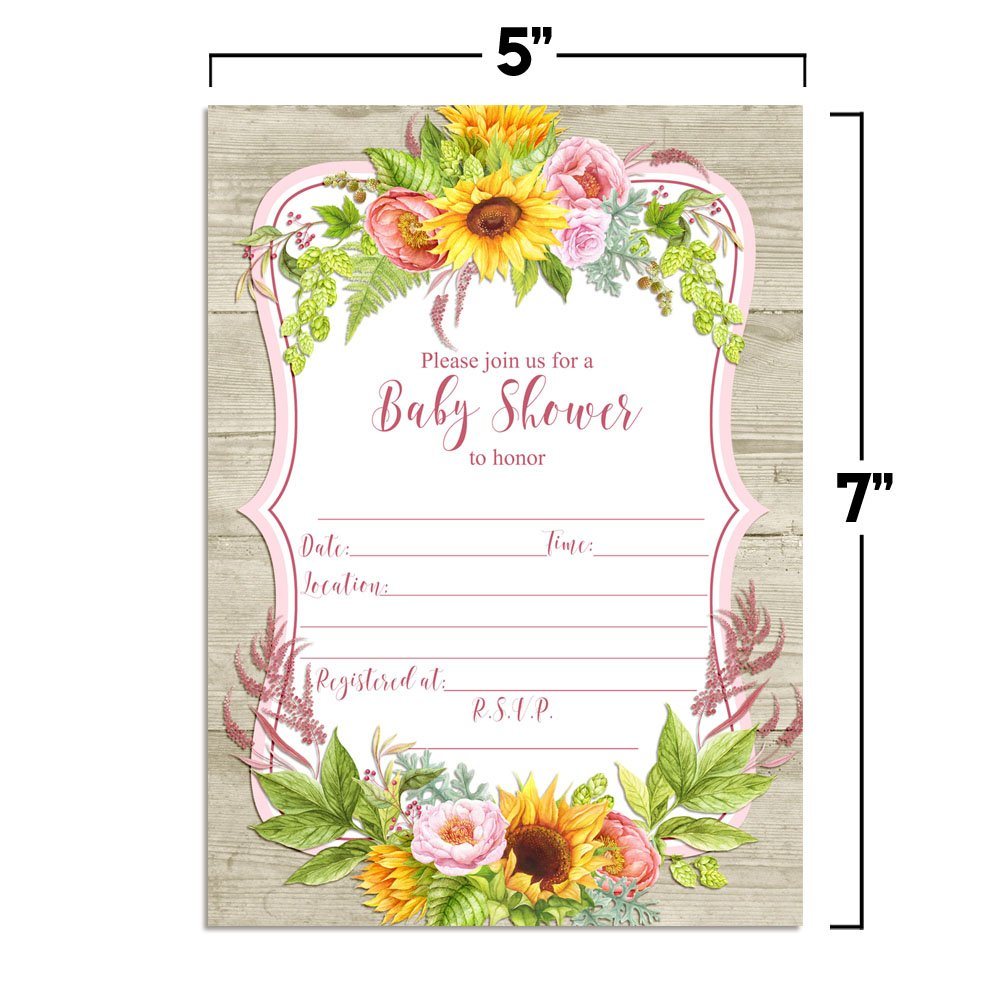 Amazon Com Watercolor Sunflower Peony Floral Spring Baby Shower