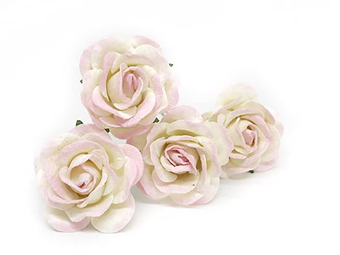 Amazon 15 white blush pink paper flowers mulberry paper 15quot white blush pink paper flowers mulberry paper flowers mulberry paper roses mightylinksfo