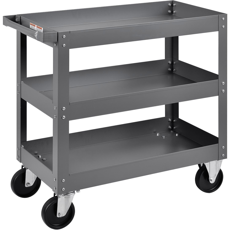 3 Shelf Deep Tray Steel Stock Cart, 800 Lb. Capacity, 30''L x 16''W x 32''H