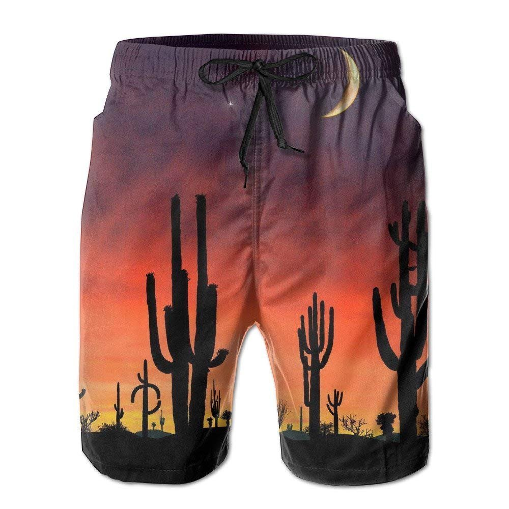 loejrfw Men's Cactus Sunset Quick-Drying Summer Boardshort Swimm Surf Trunk Short Beach Pant Large