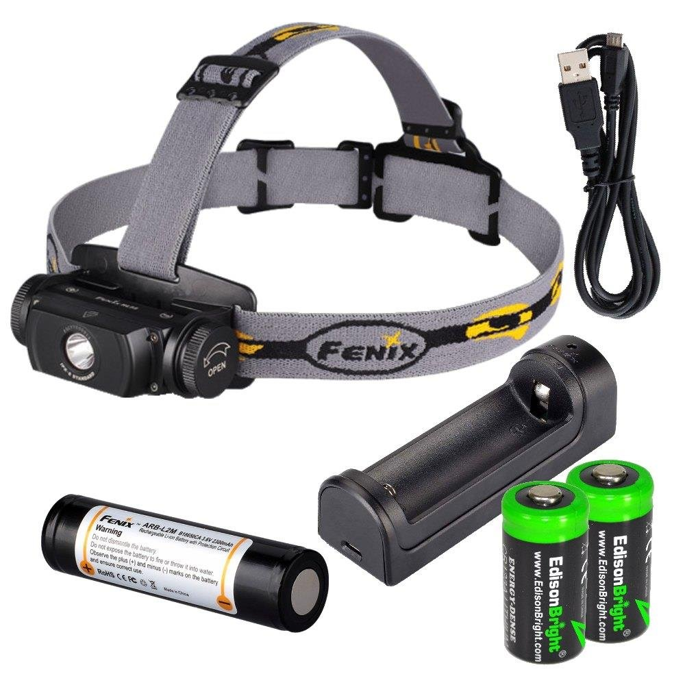 Fenix HL55 900 Lumen CREE LED Headlamp with Fenix ARE-X1 battery charger, Fenix 18650 ARB-L2M rechargeable battery and two EdisonBright CR123A Lithium batteries