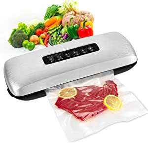 Vacuum Sealer Machine,Automatic Food Saver Vacuum System For Food Preservation with Built-in Cutter,Portable Sealer with 10 Vacuum Sealer Bags| Dry & Moist Food Modes| Easy to Clean | Led Indicator Lights|Compact Design|