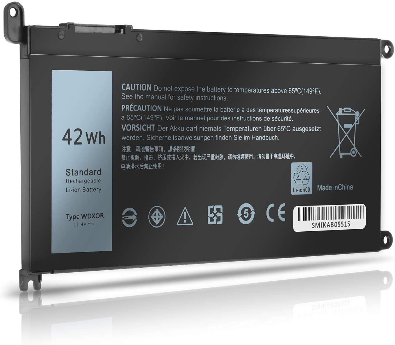 WDXOR 42Wh Laptop Battery Replace for Dell Inspiron 17 5765 5767 5770 15 5565 5567 5568 5578 7560 7570 7579 7569 13 5368 5378 7368 7378 Series Notebook FC92N 3CRH3 T2JX4