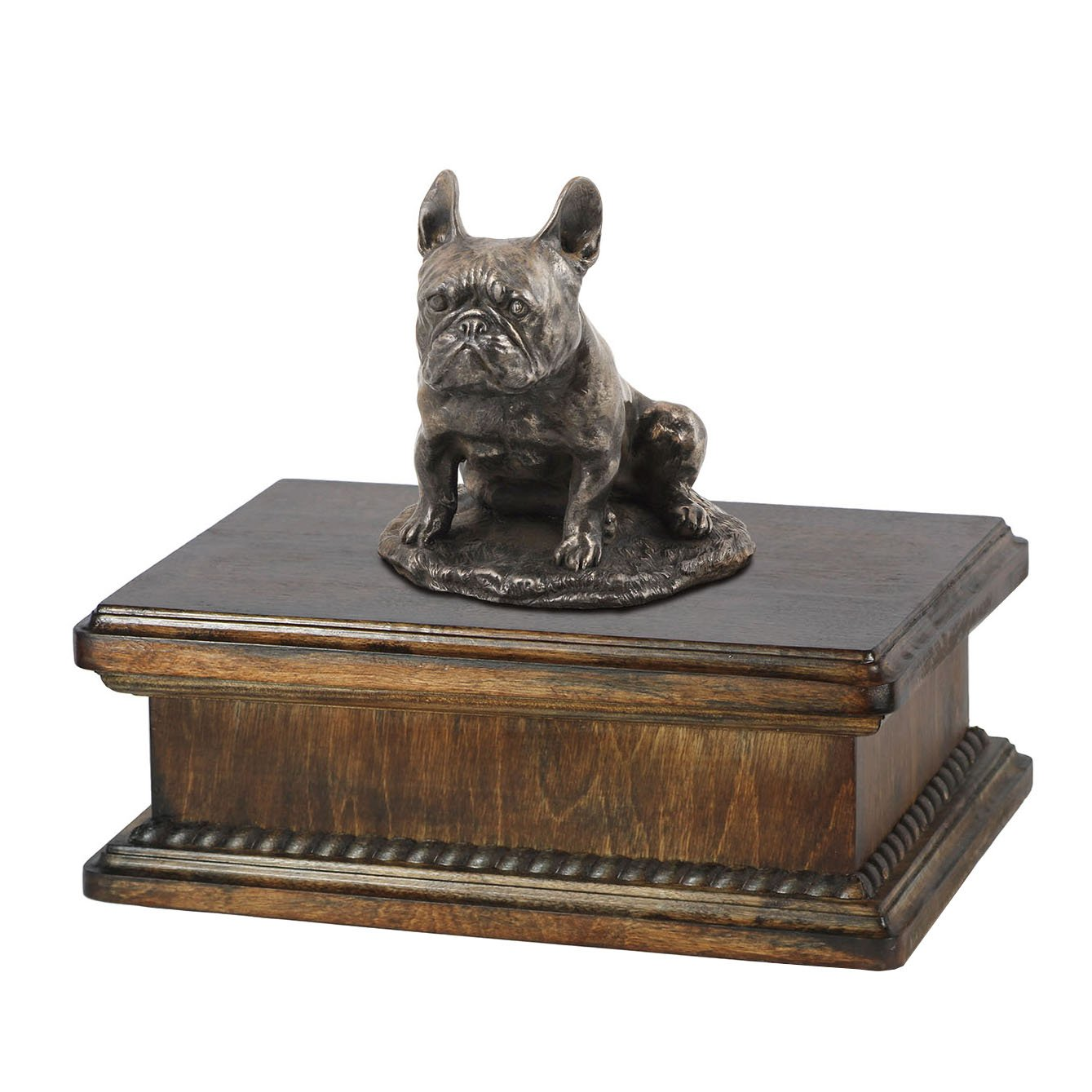 French Bulldog (sitting), memorial, urn for dog's ashes, with dog statue, exclusive, ArtDog