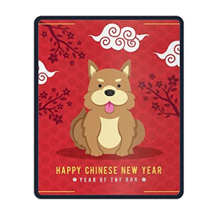 chinese new year background with cute dog non slip rubber mousepad custom gaming mouse pad