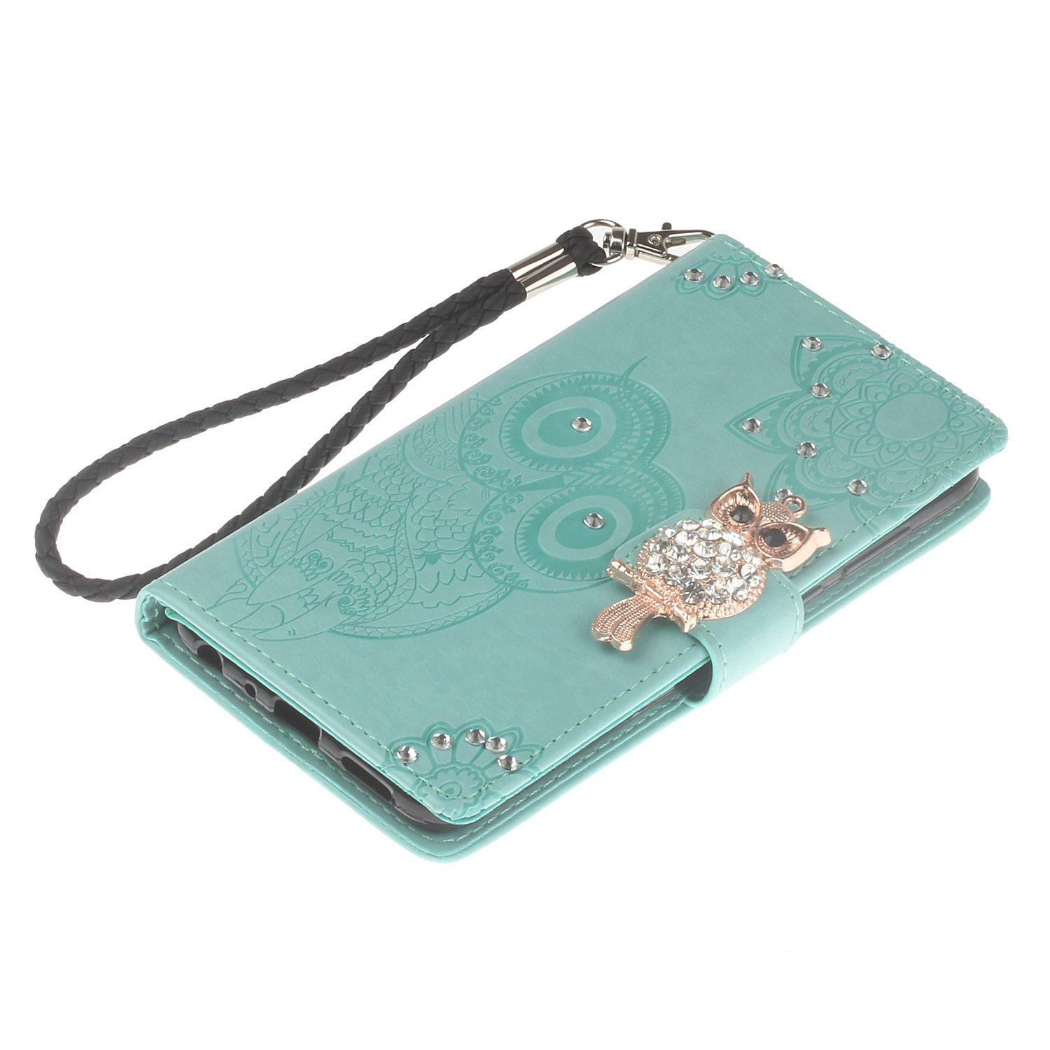 MoreChioce Huawei Honor 9 Lite Leather Case Embossed Pattern Rhinestone Owl Design Soft PU Leather Flip Wallet Card Slots with Kickstand Function Case Compatible with Huawei Honor 9 Lite Rose Gold