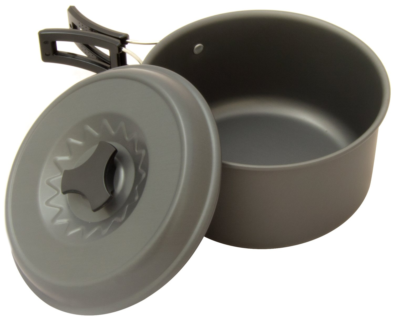 Adtrek 2 Person Camping Cook Set Hard Anodised Aluminium 1L Kettle Includes Frying Pan Chopping Board Sauce Pan Carry Bag Plates