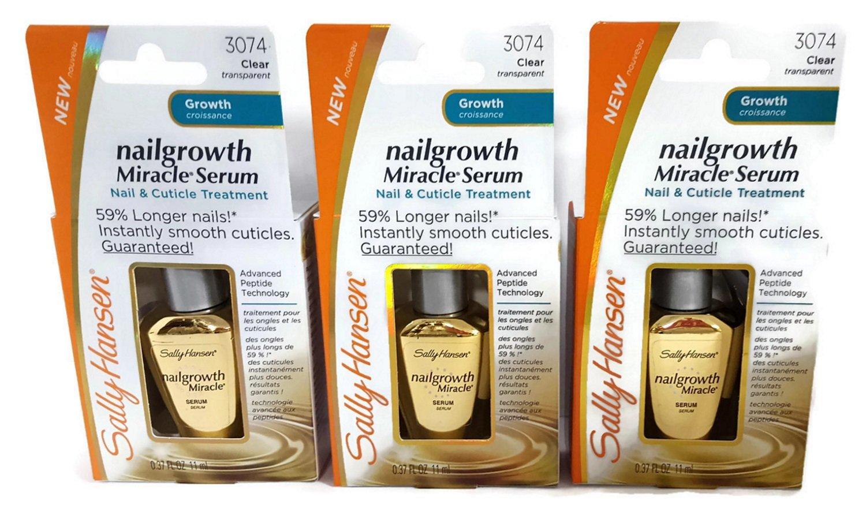 (3 PACK) Sally Hansen Nailgrowth Miracle Serum Nail & Cuticle Treatment, 0.37 fl. oz.