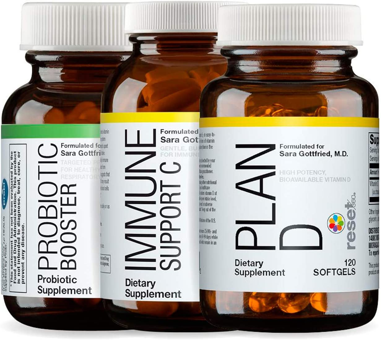 Reset360 Immune Support Kit Including Probiotic Booster Capsules, Immune Support Vitamin C Tablets, Plan D Vitamin D3 Soft Gel Supplements