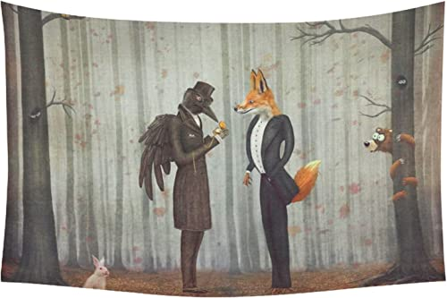 INTERESTPRINT Funny Animal Home Decor Tapestries Wall Art, Raven and Fox Forest Tapestry Wall Hanging Art Sets 90 X 60 Inches