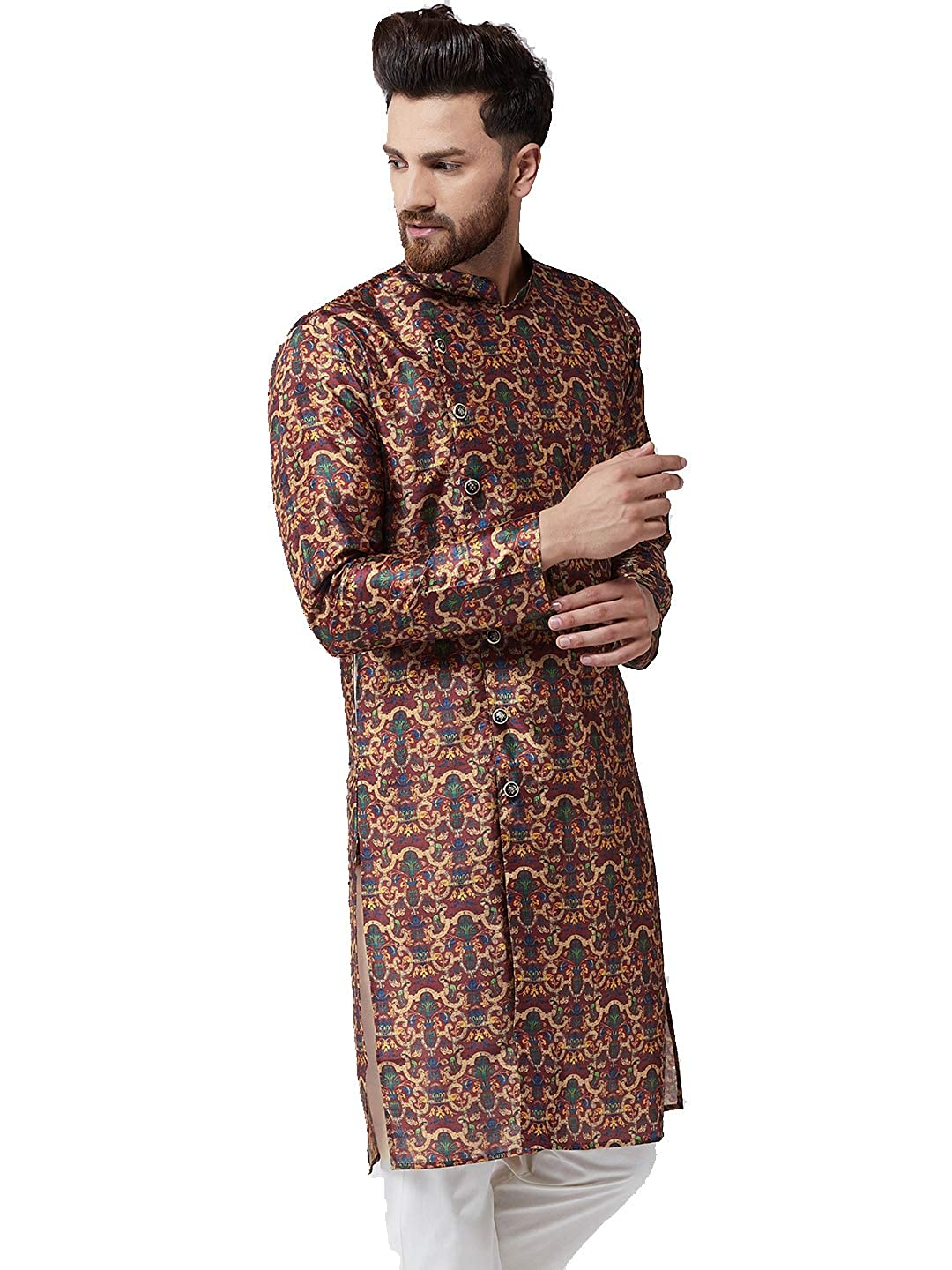 Festival-Men-Dupion-Silk-Kurta-Pajama-Ethnic-Party-Wear-Bollywood-Dress-Pyjama thumbnail 26