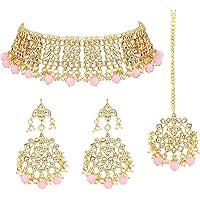 Aheli Elegant Indian Wedding Wear Faux Kundan Studded Choker Necklace with Maang Tikka Set Ethnic Fashion Jewelry for…