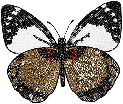 BUTTERFLY BLUE RED GOLD  3/' SEQUIN Embroidered Sew On Patch Badge Applique Trim