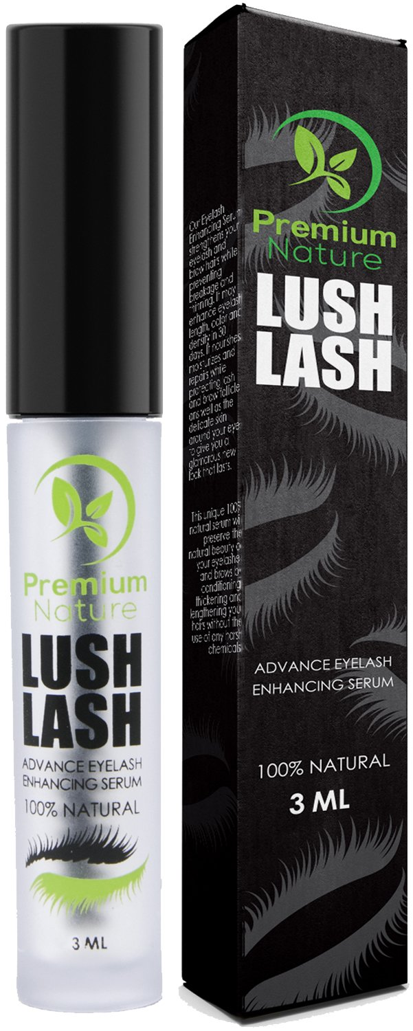Eyelash Growth Serum Eyebrows Enhancer - Natural Eye Lash Brow Boost Enhancing Advanced Serum Full Eyebrow Lush Conditioner Booster Regrowth Treatment to Grow Fuller Thicker Longer Eyelashes Premium Nature