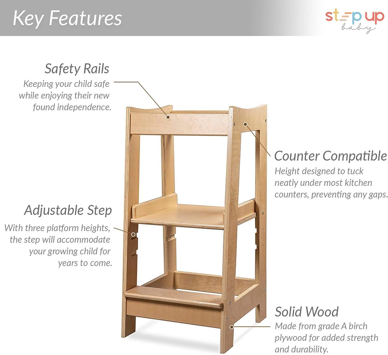 Torre de Aprendizaje Montessori para niños con altura ajustable y barra de seguridad (madera maciza) barnizada: Amazon.es: Bebé