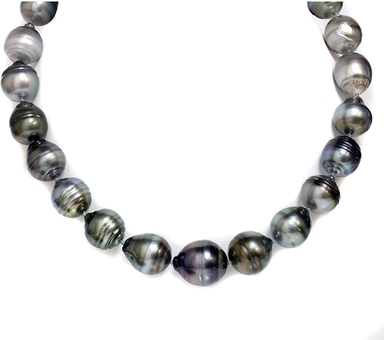 AAA NATURAL TAHITIAN GENUINE BLACK PEARL NECKLACE white//gold Silver chain