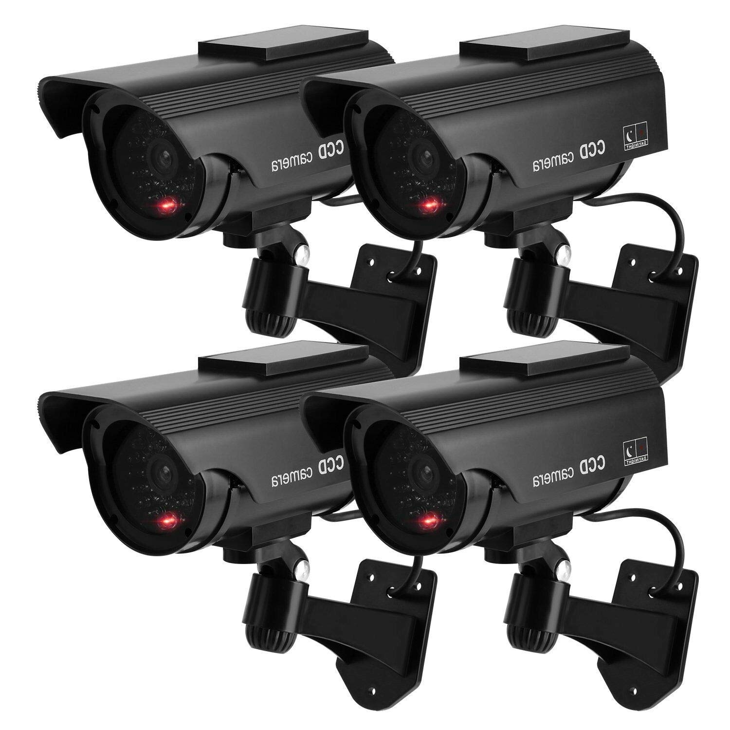 OCGIG Solar Powered Bullet Dummy Fake Security CCTV Cameras with Flashing Light Surveillance Cameras Outdoor Indoor Use for Household & Workplace,4 Pack by OCGIG