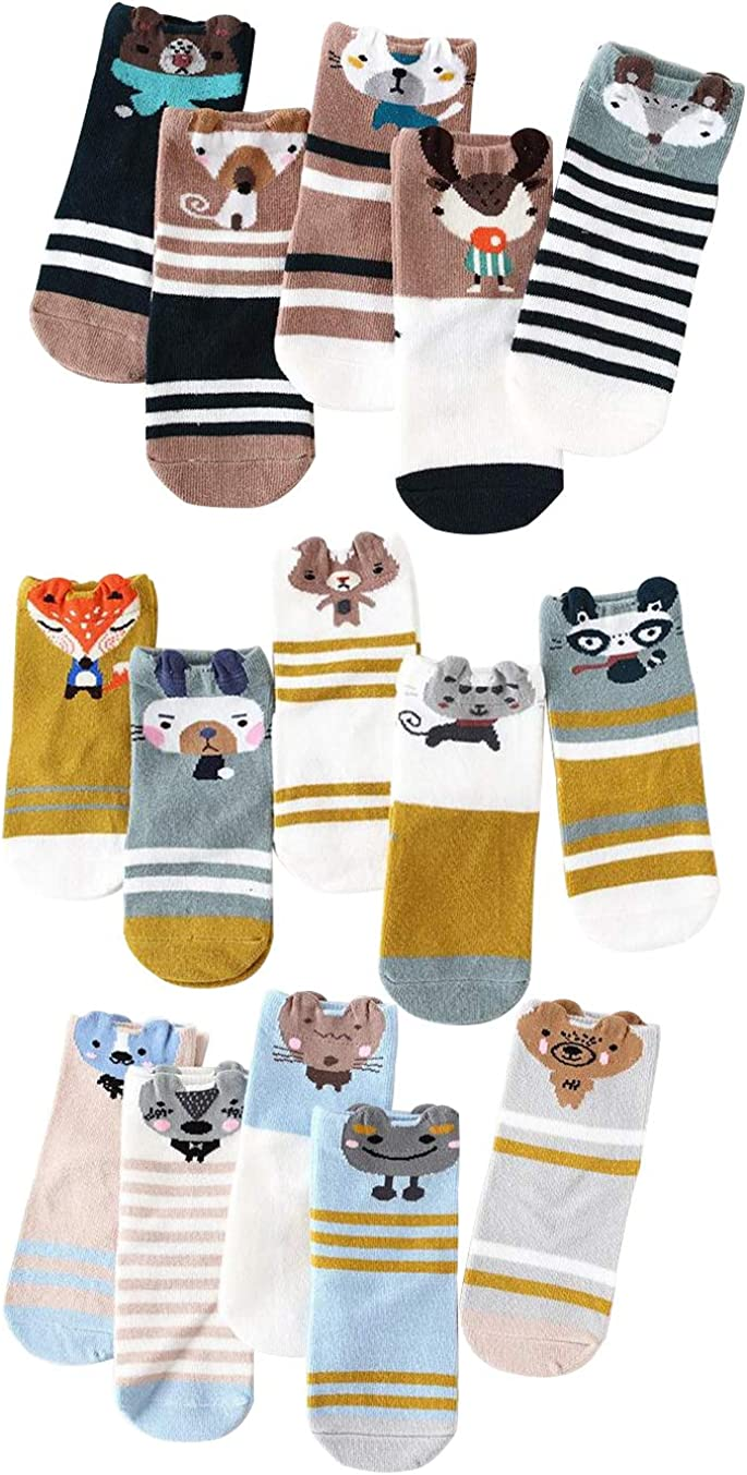 15 Pairs Toddler Kids Cute Animal Fun Novelty Cotton Crew Socks Gifts for Little Girls Boys