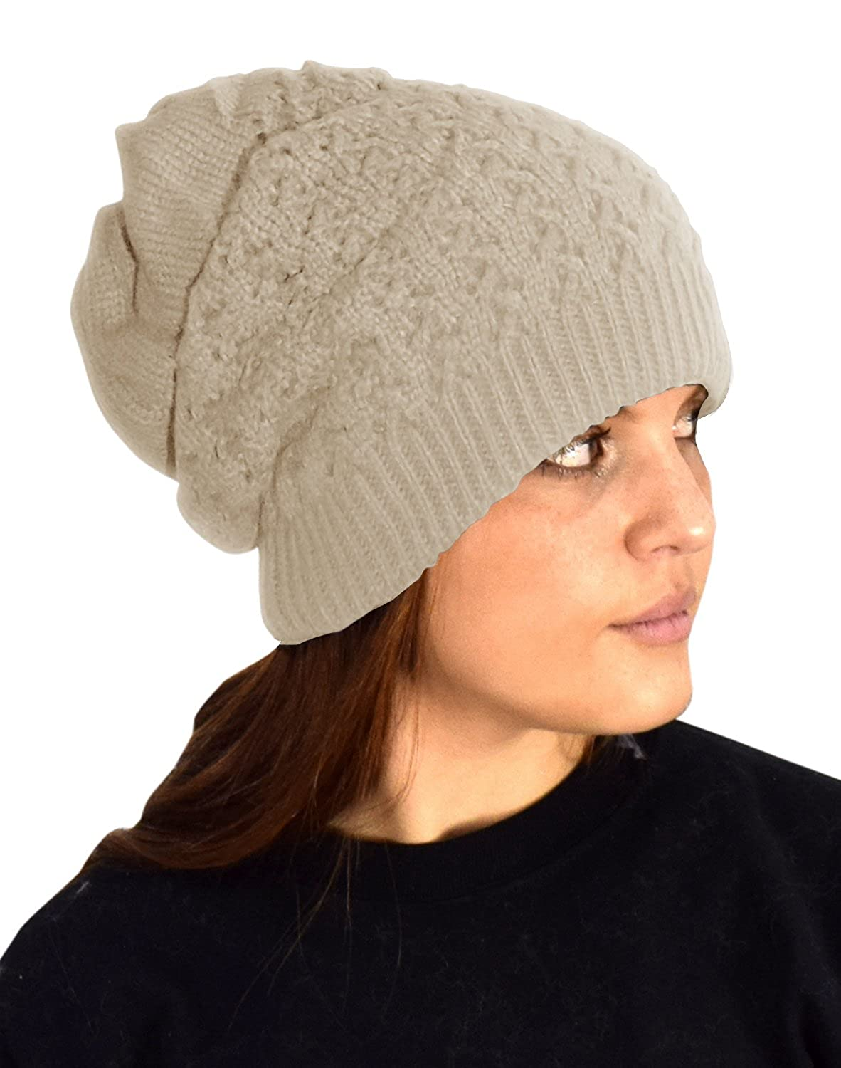 Peach Couture Womens Knit Thick Warm Boho Slouch Beanie Ski Hat Cap Snood  (Beige) at Amazon Women s Clothing store  3c1f83de887