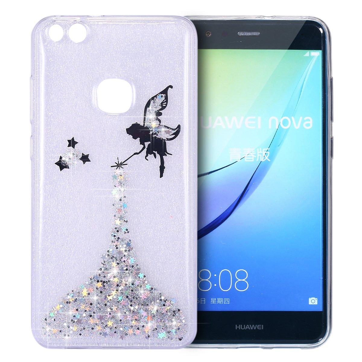 Ysimee Coque Compatible pour Huawei P10 Lite Bling Glitter Silicone Souple Etui Transparent avec Motif Ange Fille Paillette Brillante Housse Ultra Slim Case Doux Gel Coque de Téléphone,Ange Argent