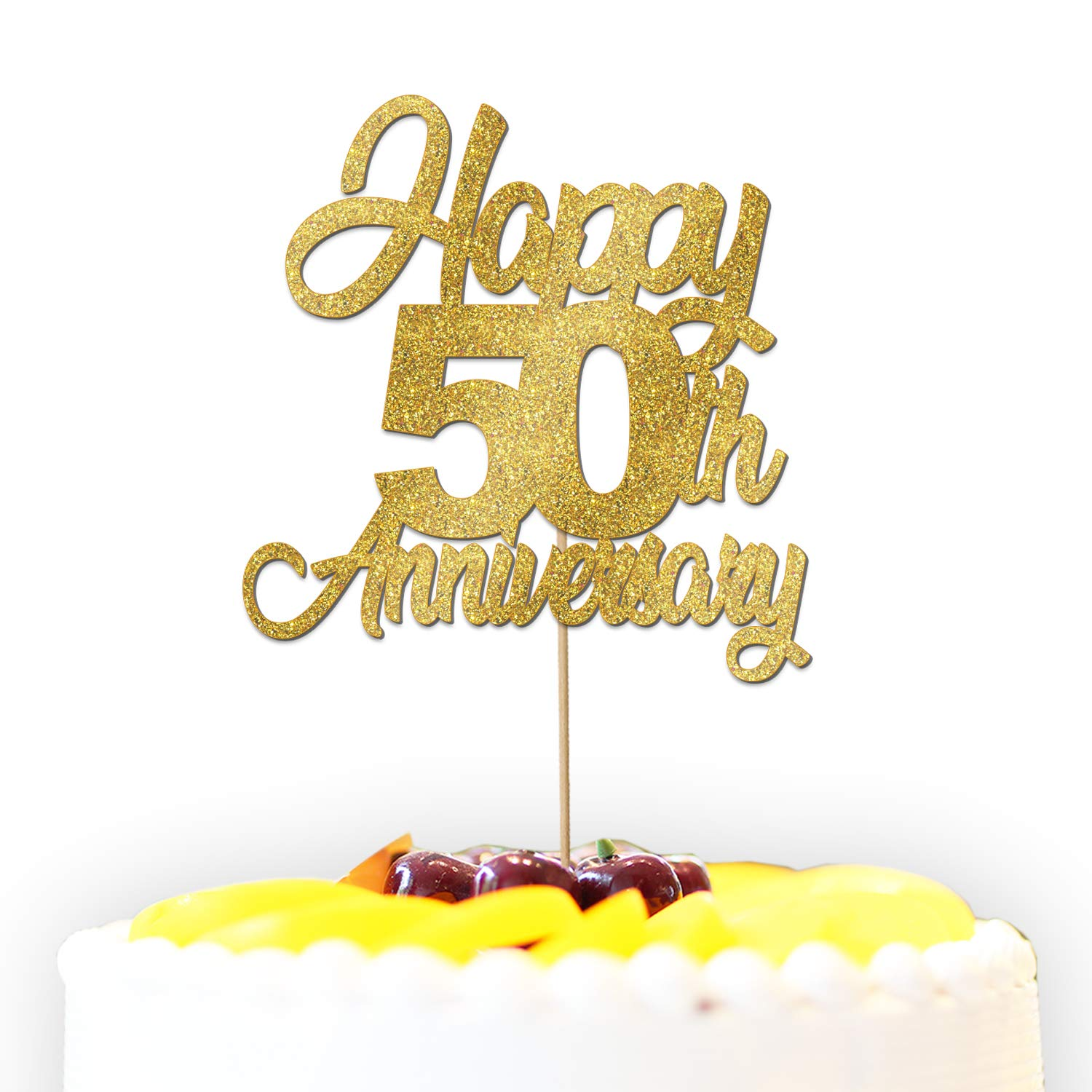 Personalised Happy 40th 50th 60th Golden Wedding Anniversary Glitter Cake Topper Decoration