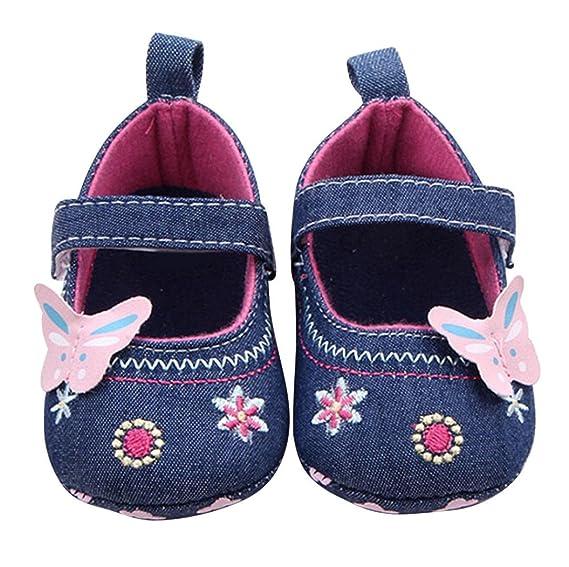 Zapatos De Bebé, Primeros Pasos para niña Mariposa Suave Sola niña 0-18 Mes