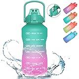 PASER Half Gallon/64oz Motivational Water Bottle with Time Marker & Straw, Leakproof Tritan BPA Free Water Jug (2.4L) Ensure