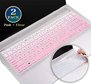 2 Pack Keyboard Cover for 2020 2019 15.6 Inch HP Envy x360 15.6 2-in-1 Series, HP Pavilion 15.6/HP 17.3 Inch Laptop 2019, HP Laptop 15t 17t 17-ca 17-ce Protector Skin(Gradual Pink+Clear)