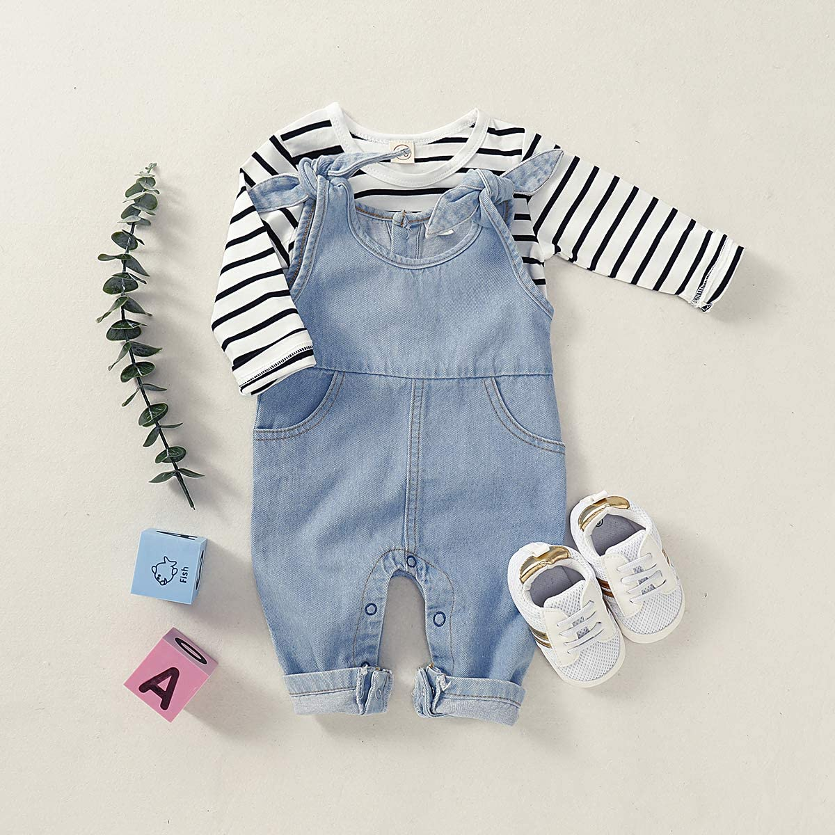 Newborn Infant Baby Girls Denim Bodysuit Halter Sleeve Romper with Two Pocket Jeans Overalls