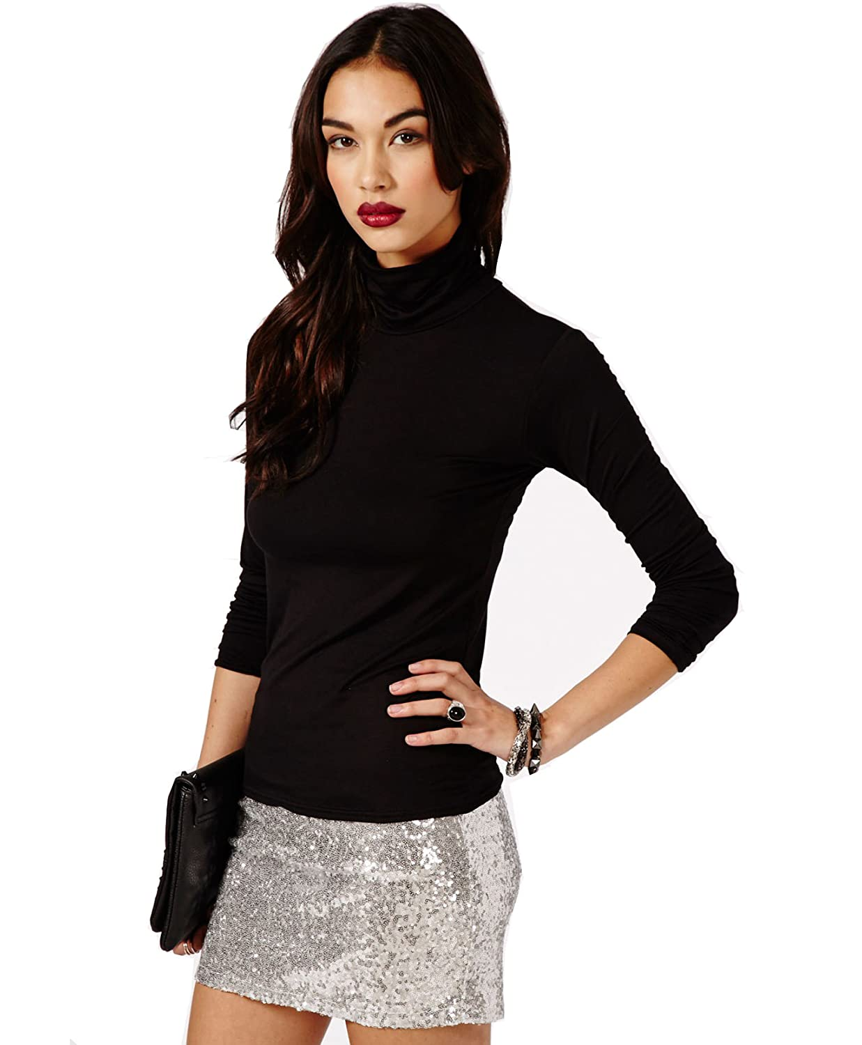 530f360f5cb17b LADIES/WOMEN'S STRETCHY ROLL-NECK LONG-SLEEVE COTTON PLAIN TOPS: Amazon.co. uk: Clothing