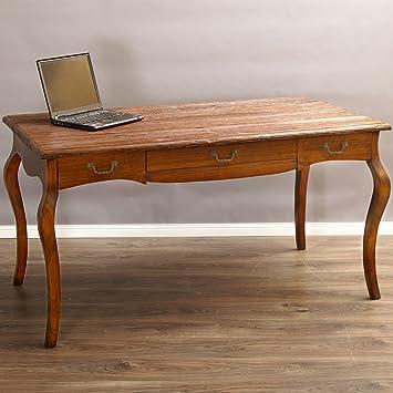 Schreibtisch Tisch Louis Stil Barock Holz Mit Antikholz Platte