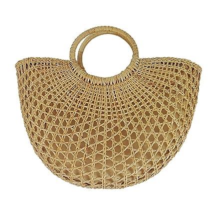 Trenzada Pushally para césped Paja de de Mano Amarillo Bolso Mujer de diseño v8H7n8r