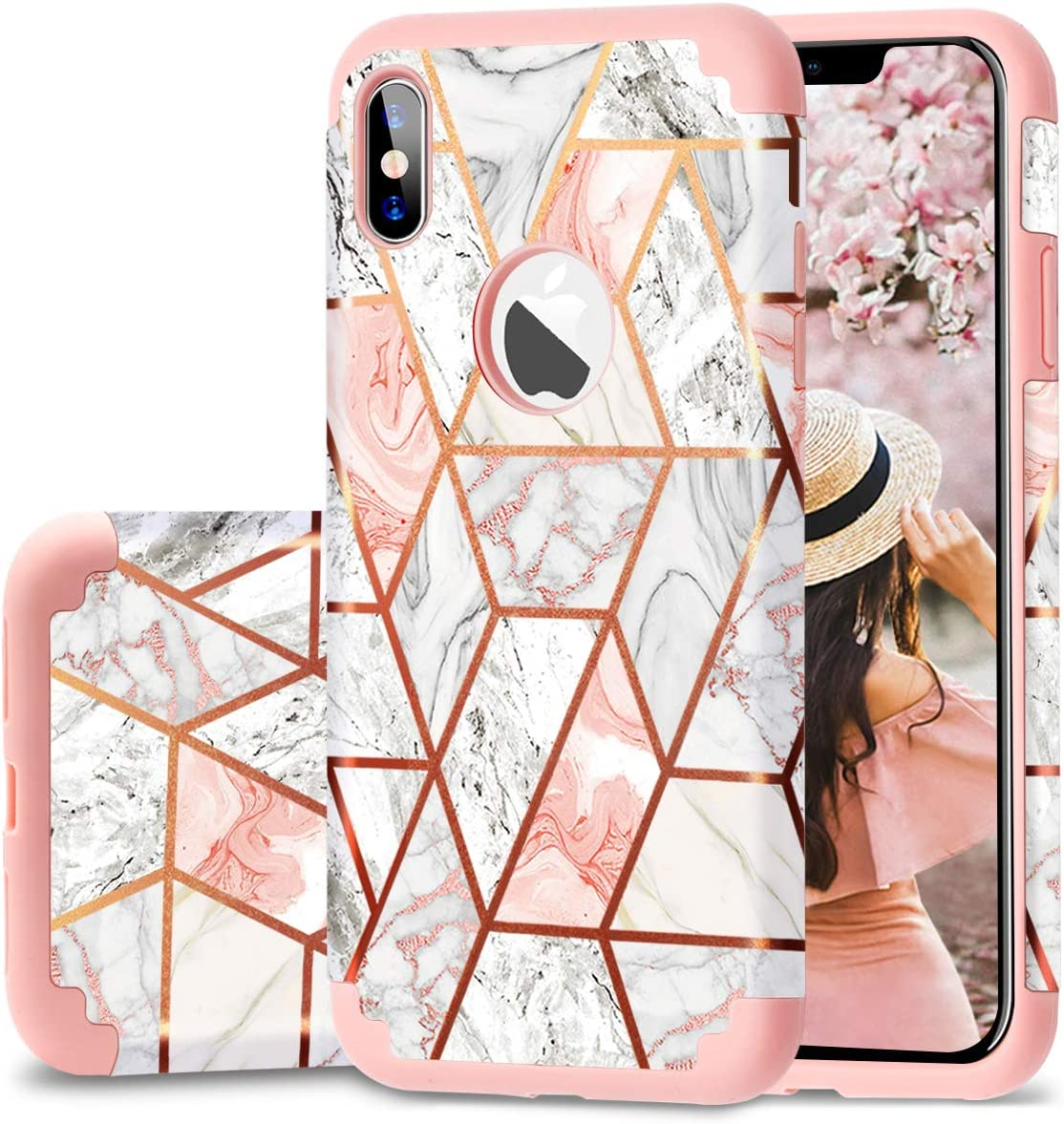 Fingic iPhone Xs Max Case, Rose Gold Marble Design Shiny Glitter Bumper Hybrid Hard PC Soft Rubber Anti-Scratch Shockproof Protective Case Cover for Apple iPhone Xs Max 6.5 inch 2018, Rose Gold