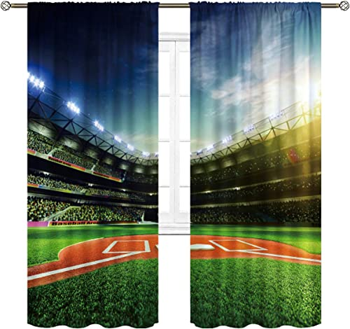 Cinbloo Sports Baseball Field Curtains Rod Pocket Game Concept Digitally Generated Stadium Arena Waterproof Art Printed Living Room Bedroom Window Drapes Treatment Fabric 2 Panels 52 W x 84 L Inch